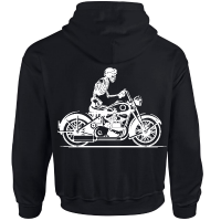Hoodie Scull on motor bike